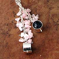 Amethyst and rose quartz long necklace, 'Lilac Mirror' - Amethyst and rose quartz long necklace