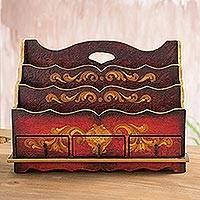 Letter holder, 'Country Estate' - Wood Letter Holder and Desk Organizer Handmade in Peru