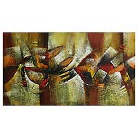 'Abstract in Ochres' (2009) - Abstract Painting from Peru