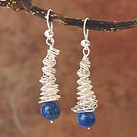 Lapis lazuli dangle earrings, 'Dizzy Over You' - Lapis lazuli dangle earrings