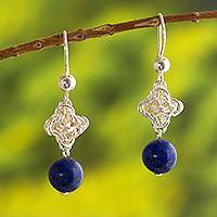 Lapis lazuli dangle earrings, 'Love Knot' - Exquisite Lapis Lazuli and 950 Silver Dangle Earrings