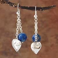 Lapis lazuli heart earrings, 'Serene Blue' - Unique Heart Shaped Sterling and Lapis Lazuli Earrings