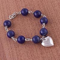 Lapis lazuli heart bracelet, 'Serene Blue'