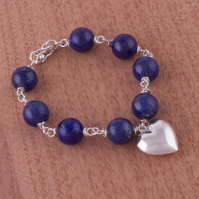 Lapis lazuli heart bracelet, 'Serene Blue' - Heart Shaped Lapis Lazuli and Silver Bracelet