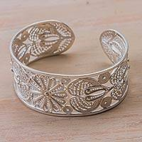 Silver filigree bracelet, 'Delicate Sunflower'