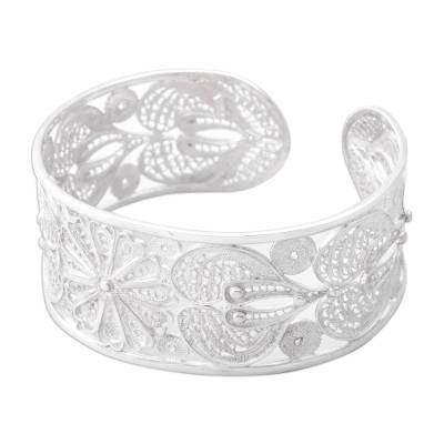 Silver filigree bracelet, 'Sunflower' - Fine Silver Floral Filigree Bracelet from Peru