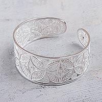 Silver filigree cuff bracelet, 'Medallions'