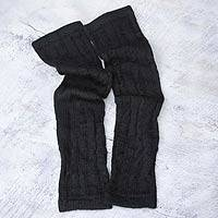 100% alpaca arm warmers, 'Black Braids' - Hand Made Peruvian Wool Alpaca Wool Solid Black Gloves