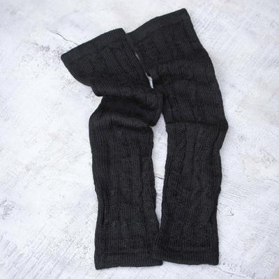 100% alpaca arm warmers, 'Black Braids' - Hand Knit Cable Rib 100% Alpaca Elbow Length Fingerless Glov