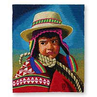 Wool tapestry, 'Rope Boy' - Wool tapestry