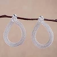 Silver drop earrings, 'Luminosity' - Silver drop earrings