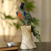 Gemstone sculpture, 'Forest Macaw' - Gemstone Bird Figurine Sculpture