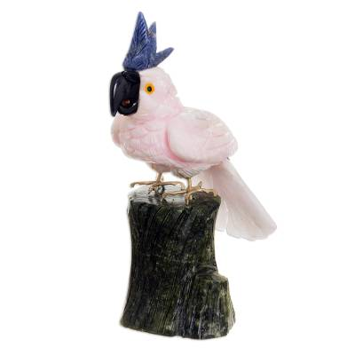 Manganese and serpentine sculpture, 'Pink Cockatoo' - Manganese and serpentine sculpture