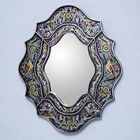 Reverse painted glass mirror, 'Spring Violets' - Wild Violets Reverse Painted Glass Wall Mirror