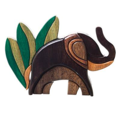 Ishpingo statuette, 'Elephant in Nature' - Elegant Wood Abstract Elephant Sculpture