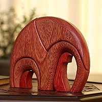 Ishpingo wood statuette, 'Sunset Elephant'