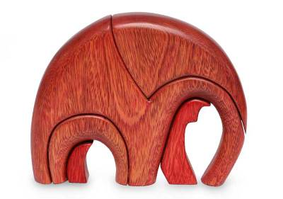 Ishpingo wood statuette, 'Sunset Elephant' - Hand Made Wood Elephant Sculpture from Peru