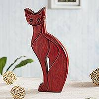 Ishpingo wood sculpture, 'Cat Pose' - Elegant Posing Cat Wood Sculpture
