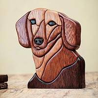 Ishpingo wood statuette, 'Loyal Dachshund' - Wood Dog Sculpture