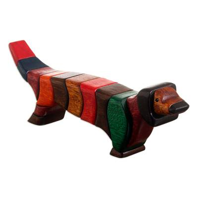 Ishpingo wood statuette, 'Multicolored Dachshund' (medium) - Unique Wood Dog Sculpture (Medium)