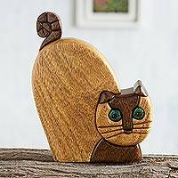 Ishpingo wood statuette, 'Whimsical Cat' - Ishpingo Wood Cat Statuette