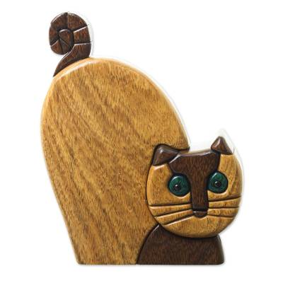 Ishpingo wood statuette, 'Whimsical Cat' - Hand Made Ishpingo Wood Statuette