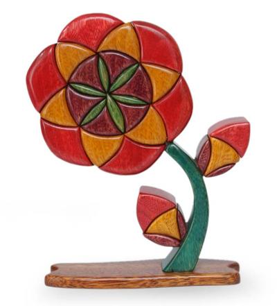 Unique Floral Wood Sculpture from Peru