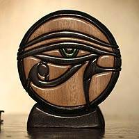 Ishpingo wood sculpture, 'Eye of Horus' - Unique Hand Crafted Eye of Horus Wood Sculpture