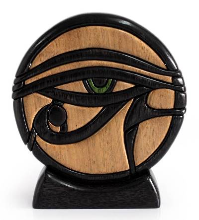Ishpingo wood sculpture, 'Eye of Horus' - Unique Hand Crafted Cultural Wood Sculpture