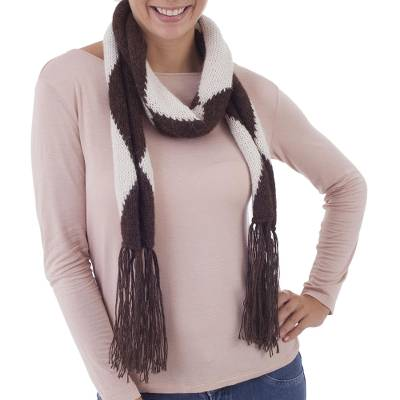 100% alpaca scarf, 'Coffee and Cream' - 100% alpaca scarf