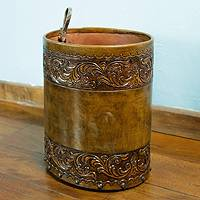 Leather magazine bin, 'Colonial Garland' - Unique Colonial Leather Wood Magazine Bin