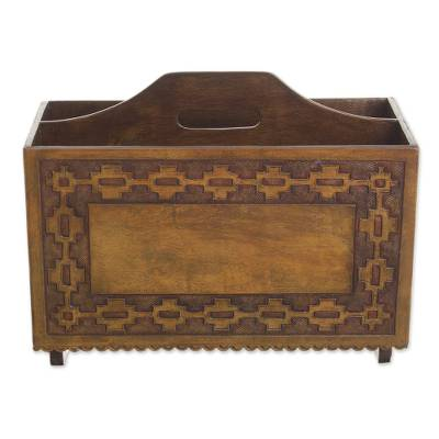 Handcrafted Colonial Leather Wood Magazine Rack Furniture Inca Link Novica
