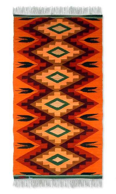 Collectible Geometric Wool Area Rug 2x5 Coca Leaf