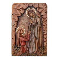 Cedar wood wall panel, 'Apparition of Our Lady of Lourdes' - Our Lady of Lourdes Cedar Wall Panel from Peru