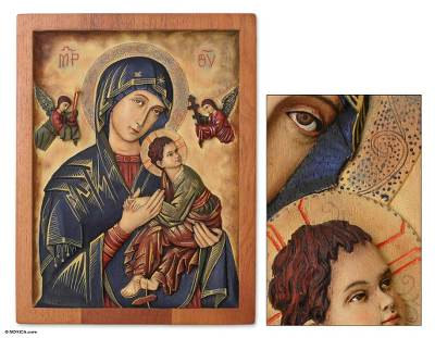 Cedar relief panel, 'Our Lady of Perpetual Help' - Religious Cedar Wood Relief Wall Panel