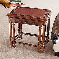 Cedar and leather tables, 'Classic Duo' (pair) - Traditional Wood Cedar Nested Tables (Pair)