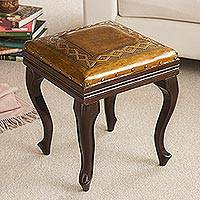 Mohena wood and leather ottoman, 'Fusion' - Mohena wood and leather ottoman