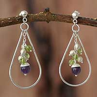 Amethyst and peridot dangle earrings, 'Enchanted' - Amethyst and Peridot Dangle Earrings