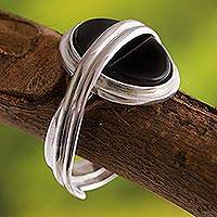 Onyx solitaire ring, 'In Your Arms' - Modern Sterling Silver Single Stone Onyx Ring