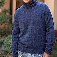 Alpaca men's sweater, 'Mariner'