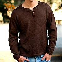 Alpaca men's sweater, 'Cocoa' - Men's Handcrafted Peruvian Alpaca Wool Sweater