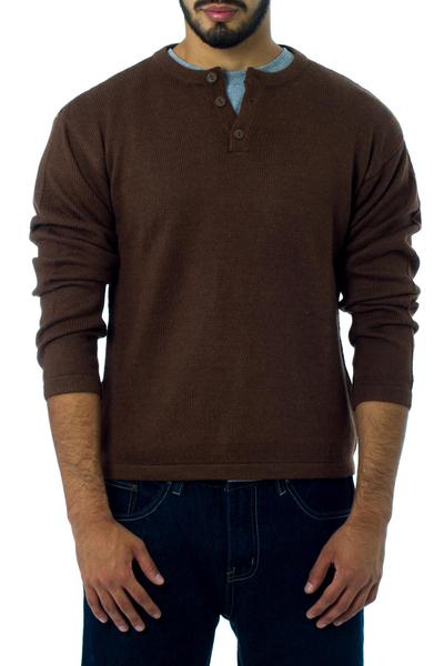 Alpaca men's sweater, 'Cocoa' - Men's Handcrafted Peruvian Alpaca Wool Sweater