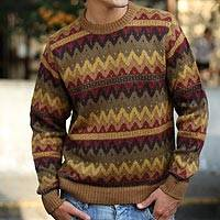 Alpaca men's sweater, 'Mountaineer' - Men's Alpaca Blend Pullover Sweater