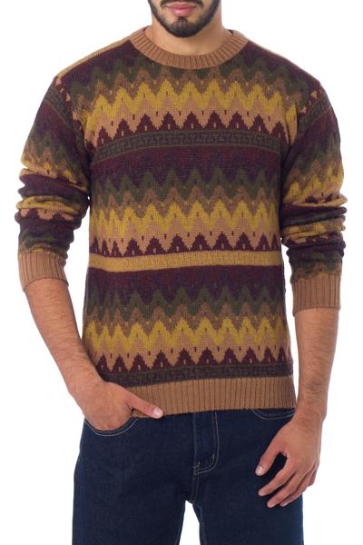 Alpaca men's sweater, 'Mountaineer' - Men's Alpaca Blend Pullover Sweater