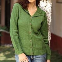 Alpaca cardigan sweater, 'Spearmint' - Peruvian Alpaca Wool Sweater