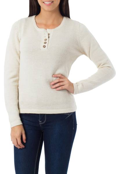 100% alpaca sweater, 'Dreamer' - Handcrafted Alpaca Wool Pullover Sweater