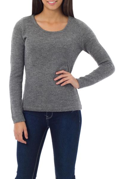 100% alpaca sweater, 'Silver Charm' - Alpaca Wool Pullover Sweater