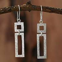 Silver dangle earrings, 'Natural Geometry' - Hand Crafted Modern Fine Silver Dangle Earrings from Peru