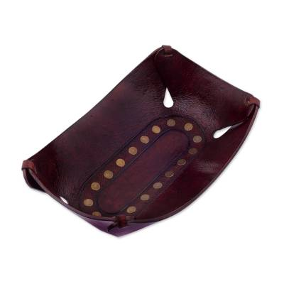 Leather catchall, 'Essential' (8.75 inch) - Artisan Handcrafted Modern Leather Catchall (8.75 inch)