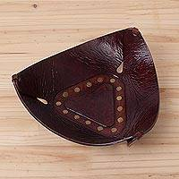 Leather catchall, 'Essential Trinity' (9.5 inch) - Modern Triangular Leather Catchall Handcrafted in the Andes